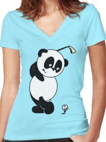 panda golf Women's Fitted V-Neck T-Shirt