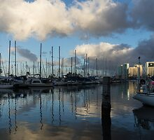 Spectacular Storm Light - Tropical Skies Over Ala Wai Harbor in Honolulu, Hawaii by Georgia Mizuleva