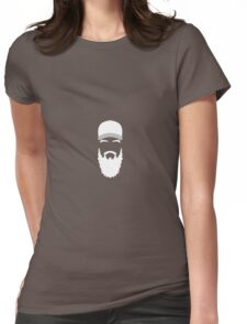 Hipster Guy - Hipster beard and a trucker cap silhouette Womens Fitted T-Shirt