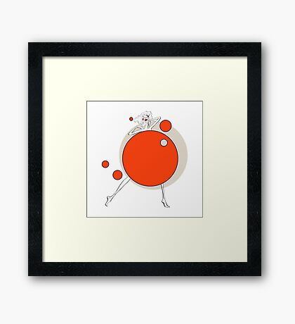 Paper doll with red balls Framed Print