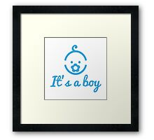 it's a boy text with with cute blue boy icon face Framed Print