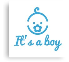 it's a boy text with with cute blue boy icon face Canvas Print