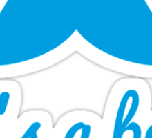 it's a boy text with blue mustache for baby shower Sticker