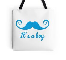 it's a boy text with blue mustache for baby shower Tote Bag