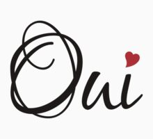 Oui, yes, French word art with red heart Kids Clothes