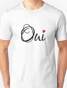 Oui, yes, French word art with red heart Unisex T-Shirt