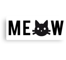 meow, text design, word art with black cat head Canvas Print