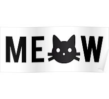meow, text design, word art with black cat head Poster