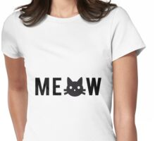 meow, text design, word art with black cat head Womens Fitted T-Shirt