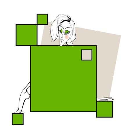 Paper doll with green squares Sticker