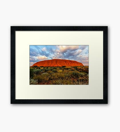 Sunrise at The Rock Framed Print
