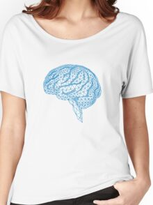 blue human brain with geometric mesh pattern Women's Relaxed Fit T-Shirt