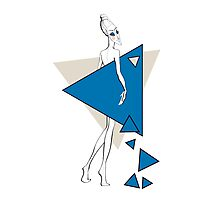 Paper doll with triangles Photographic Print