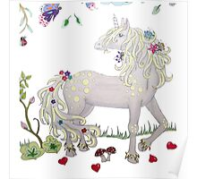 Unicorn with flowers Poster