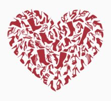 red heart with shoe silhouettes by beakraus