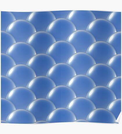 crystal ball overlap pattern blue Poster