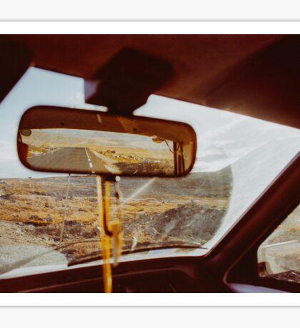 Driving in Rural Scandinavia - Closeup of Wild Landscape in Car Sticker