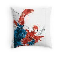 Spiderman Splatter Paint Throw Pillow