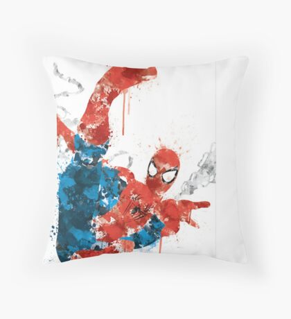 Spiderman Splatter Paint Throw Pillow