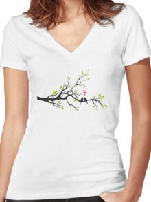 Birds in love with red hearts on spring tree Women's Fitted V-Neck T-Shirt