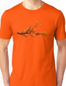 Birds in love with red hearts on spring tree Unisex T-Shirt