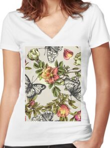 Butterflies and flowers Women's Fitted V-Neck T-Shirt