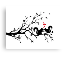 squirrels on tree branch with red hearts Canvas Print