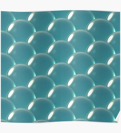 sea blue crystal ball overlap pattern Poster