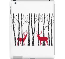 Christmas deers in birch tree forest iPad Case/Skin