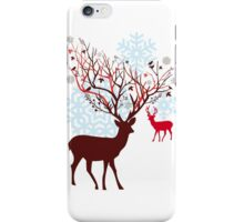 Christmas deer with tree branch antlers and birds iPhone Case/Skin