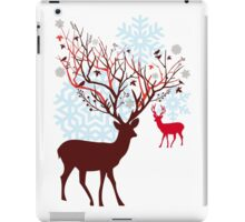 Christmas deer with tree branch antlers and birds iPad Case/Skin
