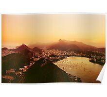 Rio de Janeiro Skyline With Christ the Redeemer Shot on Film Poster