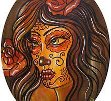 Sugar Skull Lady Head Eclipse Shape by SevenSinsTattoo