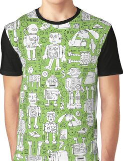 Robot Pattern - green & white Graphic T-Shirt
