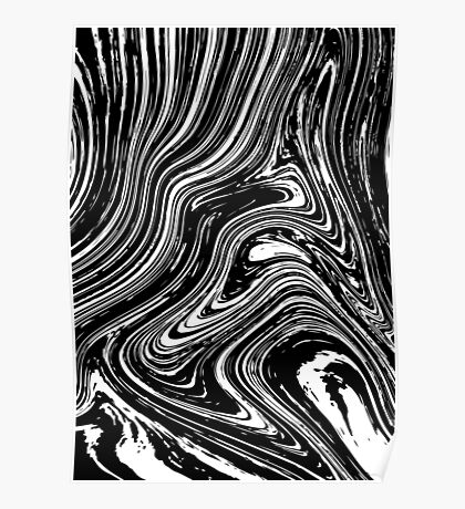 Marble effect liquid lines. Poster