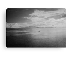 Lonely Boat on Mighty Amazonn River Shot on Film Canvas Print