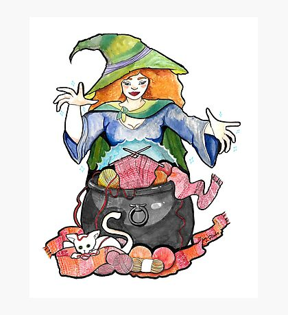 Knitting Witch  Photographic Print