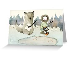The Little Inuit Girl And The Wolf Greeting Card