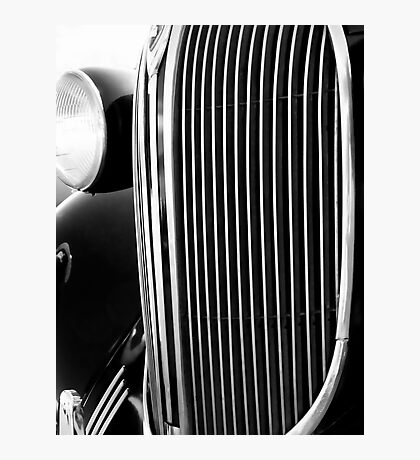 Classic Car Grill Black and White Photograph Photographic Print