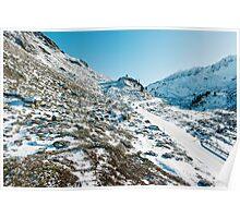 Swiss Alps - Cars on Flüelapass Mountain Pass Road on Sunny Winter Day.  Poster
