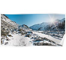 Swiss Alps - Flüelapass Mountain Pass Panorama on Sunny Winter Day Poster