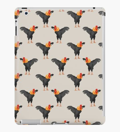 Pattern with black roosters on beige background iPad Case/Skin