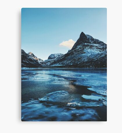 Norway - Innerdalen Lake and Mountain Range on Freezing Cold Winter Day Canvas Print