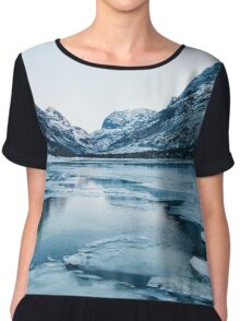 Wintertime - Ice Floating on Lake in Innerdalen Valley on Cold Sunny Winter Day Chiffon Top