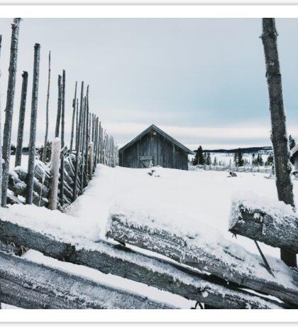 Wooden Fence and Cabin in White Norwegian Winter Landscape Sticker