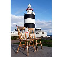 The 2 chairs.  Hook Lighthouse, County Wexford, Ireland Photographic Print