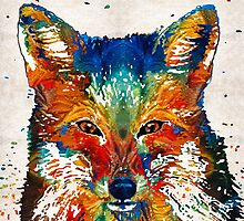 Colorful Fox Art - Foxi - By Sharon Cummings by Sharon Cummings