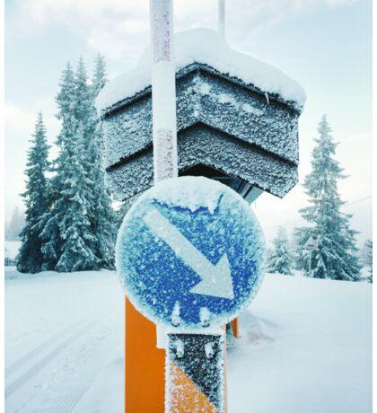 Snow-Covered Traffic Sign in Frozen Winter Landscape in Scandinavia Sticker