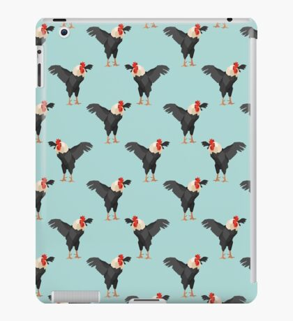 Pattern with black roosters on blue background iPad Case/Skin