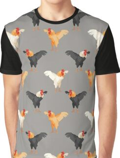 Pattern with multicolored roosters on gray background Graphic T-Shirt